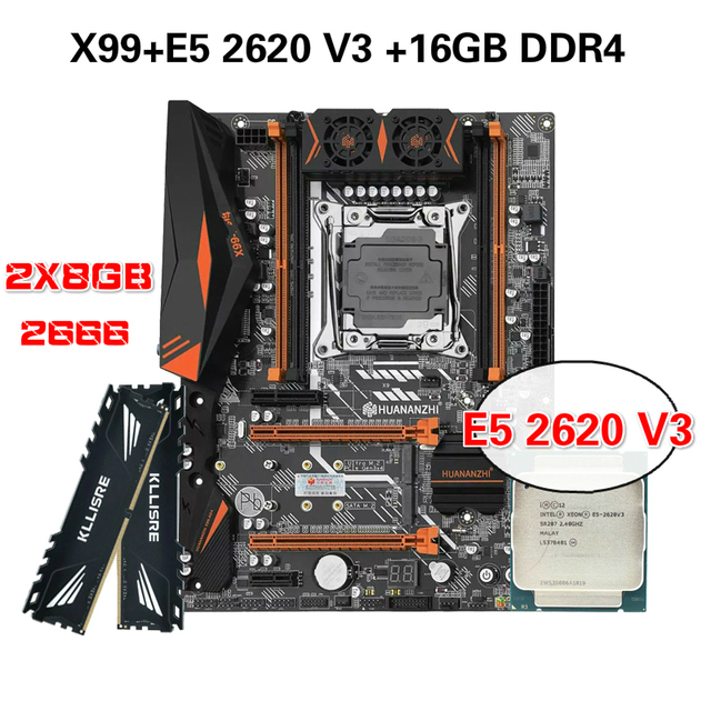HUANANZHI X99 kit combinato scheda madre XEON E5 2620 V3 2*8G DDR4 2666 NON ECC memoria NVME USB3.0 ATX