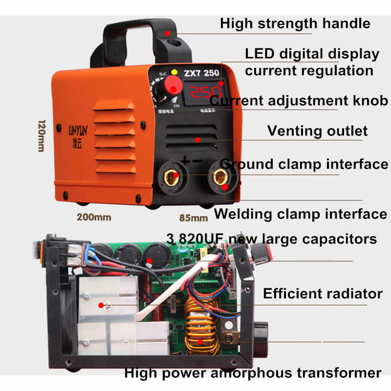 220V 250A คุณภาพสูงราคาถูกและแบบพกพาเครื่องเชื่อมเครื่องเชื่อม INVERTER ZX7-250