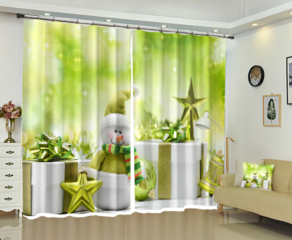 Personality 3D Blackout Curtains To Map Custom Size Shop Theme Hotel Happy New Year Christmas Gift Ins Style Decoration