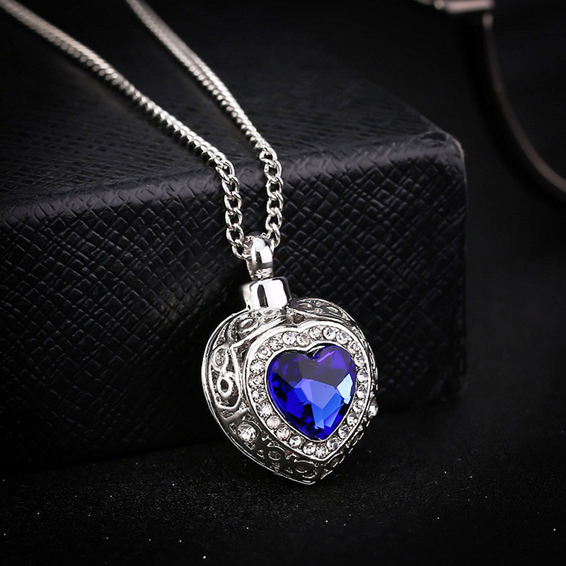 1pcs Beautiful Urn Cremation Heart Blue Crystal Pendant Ash Holder Memorial Necklace Jewelry