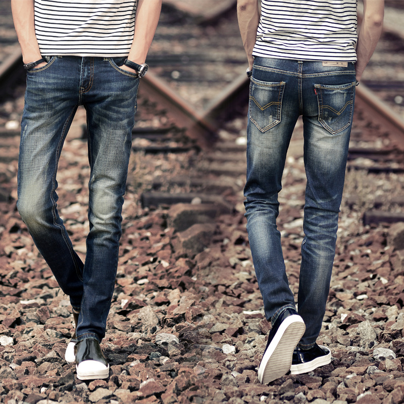 Hot Selling Korean-style MEN'S Jeans Autumn And Winter Teenager Slim Fit Small Straight-throughvalve Cowboy Pants Zengcheng Men