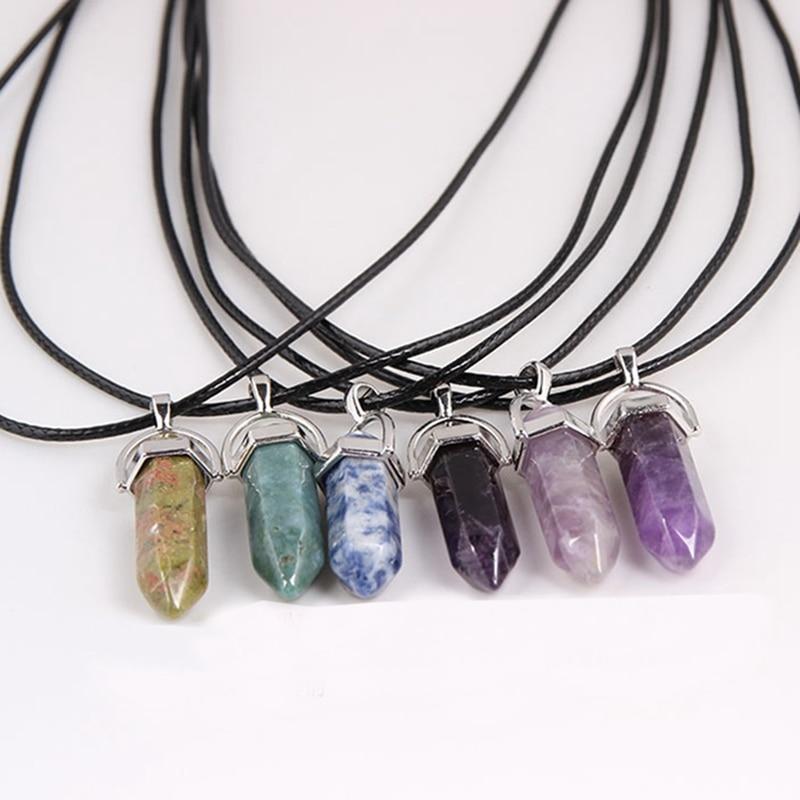 Opal natural gemstone Crystal Point Quartz Healing Stone Corde Collier Bijoux
