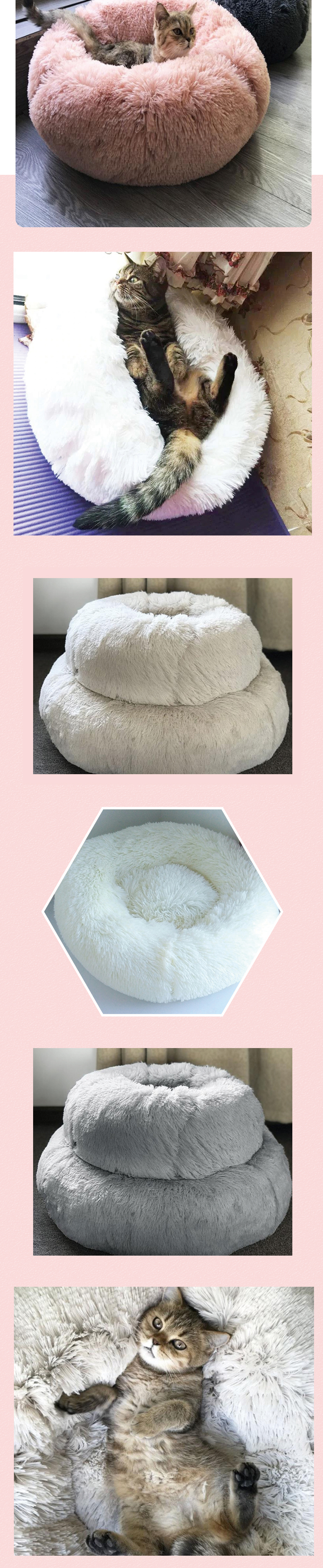 Round Pet Bed Comfortable Washable Dog and Cat Cushion Bed