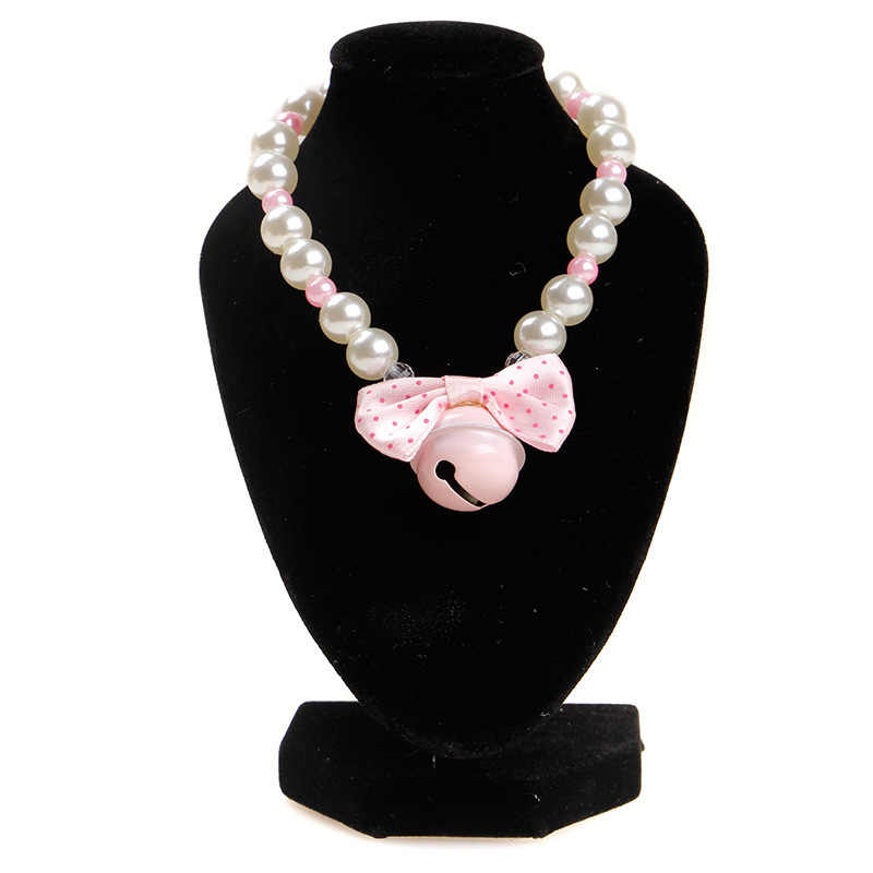Anillo elástico de cuello para mascotas, Collar de perlas, accesorios para gatos, pequeño y mediano Collar para perros