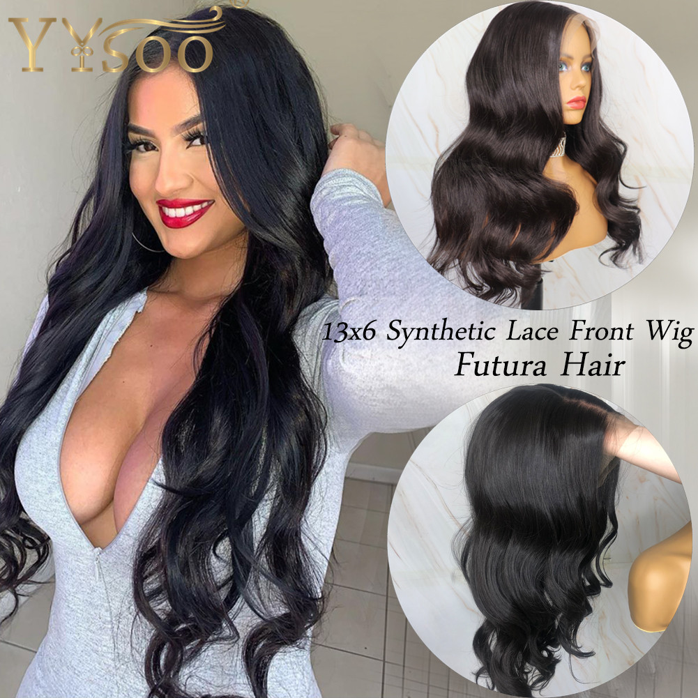 YYsoo Long Black 13x6 Lace Front Synthetic Wigs For Women Futura Japan Heat Resistant Fiber Black Body Wave Wig Natural Hairline