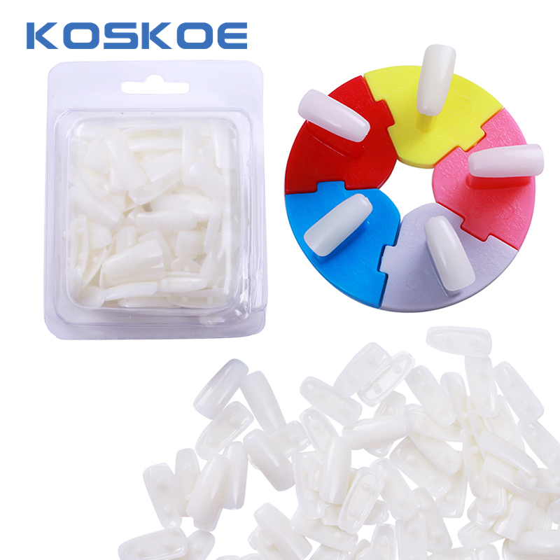 KOSKOE 1 Set Colorful Display Stands Nail Tips Holder & 100Pcs Removable Practice False Nails Tips  Set Nail Art Tools