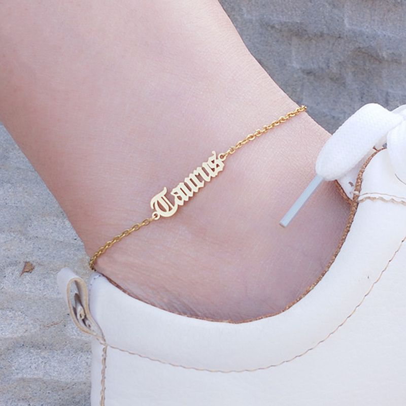 12 Constellation Old English Letter Zodiac Charm Anklet Stainless Steel Gold Initial Ankle Bracelet for Women Foot Jewelry boho