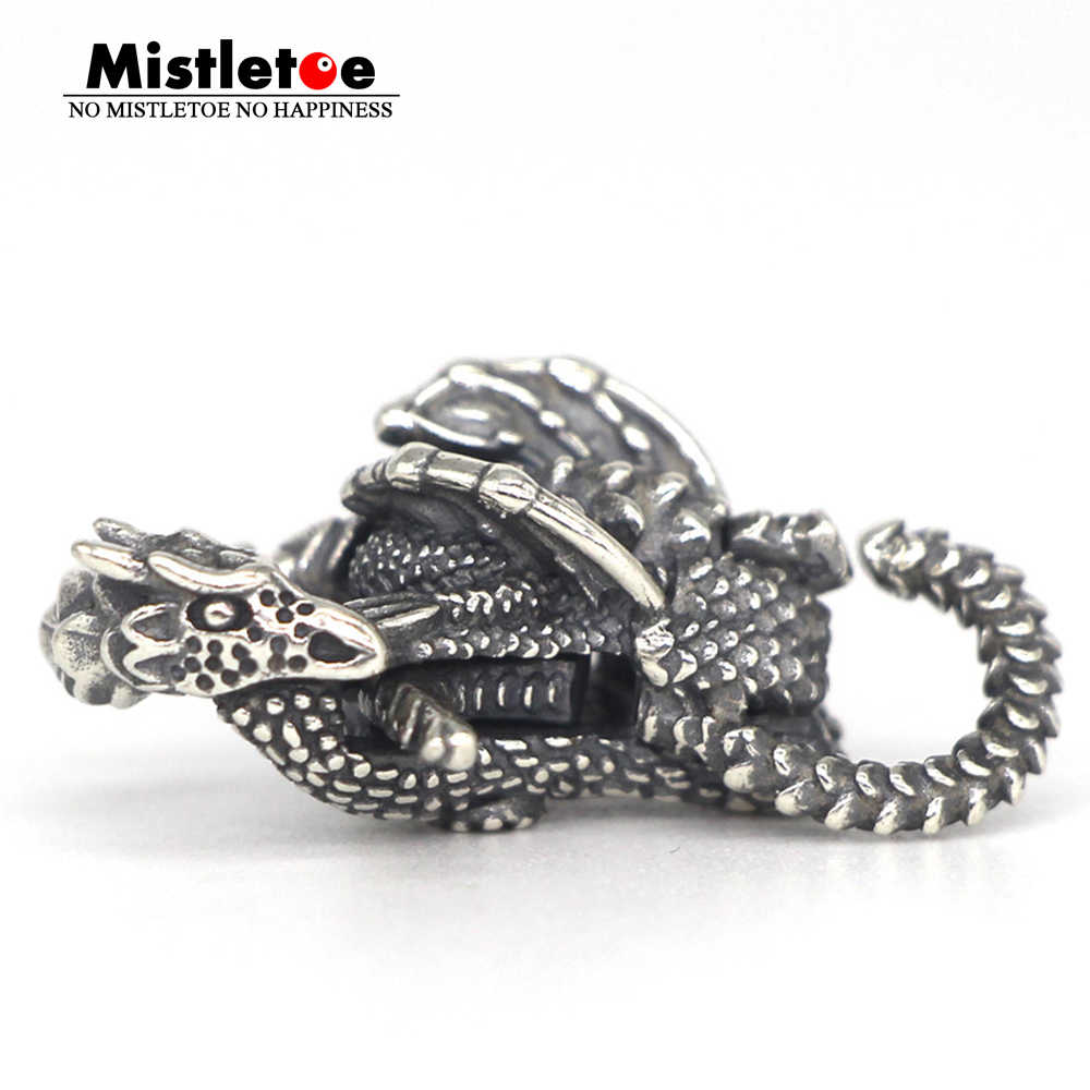 Vischio 925 Sterling Silver Fyredrake Blocco Drago Chiusura Monili Europei