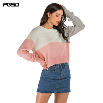 PGSD Autumn winter colour Stitching knitted women sweater loose O-Neck Long sleeves clothes female Warm Casual Short Pullover pgsd autumn winter women clothes simple solid lace stitching short hoodie bat sleeve loose sweatshirt pullover casual top female