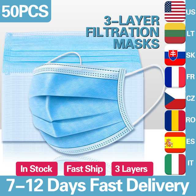 50pcs Disposable Face Mouth Masks Non-Woven Face Masks 3 Layers Filter Earloop Mask Breathable Waterproof Masks