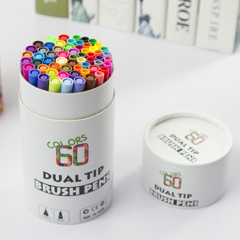 60 Colors Dual Tip Brush Pens Art Markers Brush Tip with Fineliner 0.4 Markers Pen Set for Adult Coloring Books Bullet Journal|Art Markers|   - title=