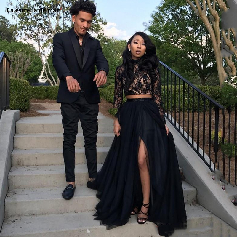 New Black Long Sleeve Prom Dresses New Formal High Neck Evening Party Pageant Gowns African Two Pieces High Split Mezuniyet Elbi