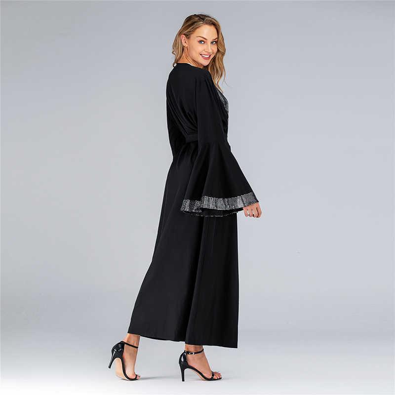 שחור פתוח נצנצים העבאיה קימונו מוסלמי חיג 'אב שמלת Abayas לנשים מרוקאי קפטן דובאי עומאן קפטן תורכי אסלאמי בגדים