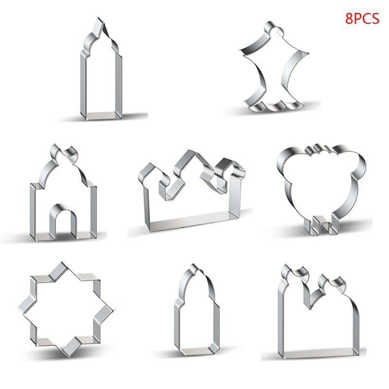 8 pièces Eid moubarak & Ramadan emporte-pièces bricolage église biscuits coupeurs moule à gâteau X4YD