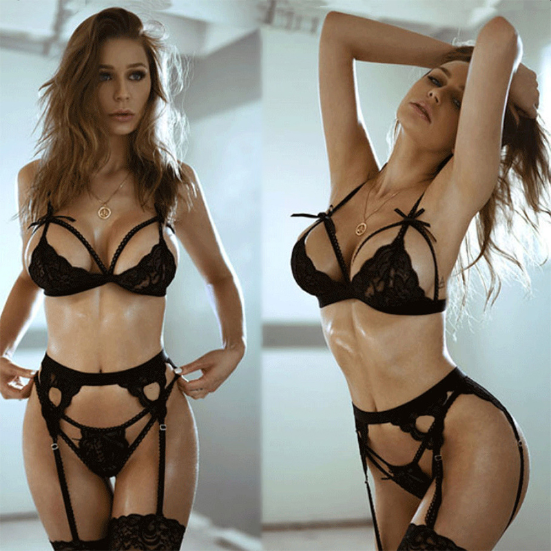 3/4Pcs Sexy Lingerie Hot Erotic Women Plus Size Babydoll Lace Underwear Porno Garters G string Open Bra Sets Teddy Sexy Costumes|Babydolls & Chemises| - AliExpress