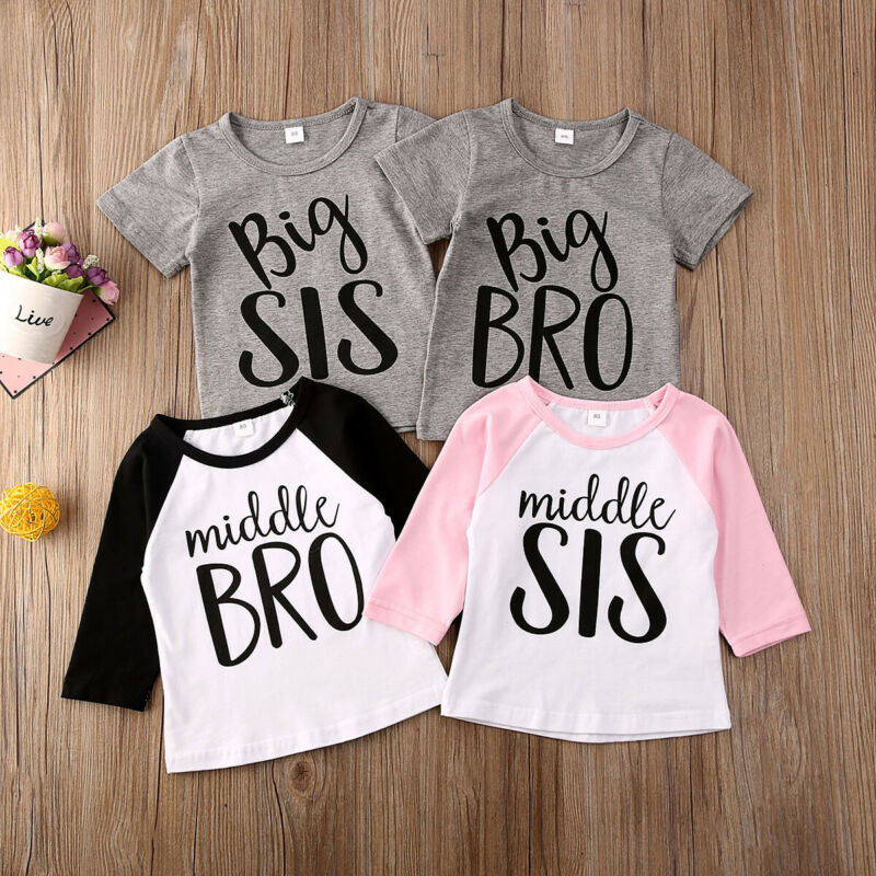 Family Matching Clothes 2020 Brother Sister Kids <font><b>Shirts</b></font> Casual Letter T-<font><b>Shirt</b></font> For Toddler Baby Boys Girls <font><b>Twin</b></font> Clothing 6M-4T image