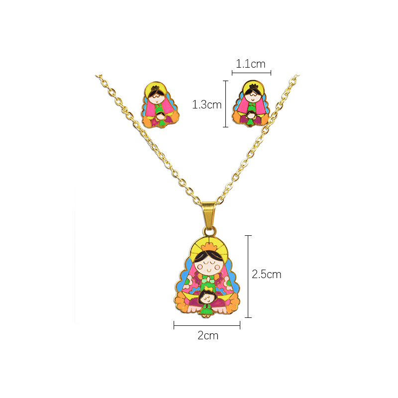 La vierge marie 100% plaqué or en acier inoxydable collier boucles d'oreilles ensemble le fils de dieu ensemble de bijoux enfants ensemble bijoux femme 5