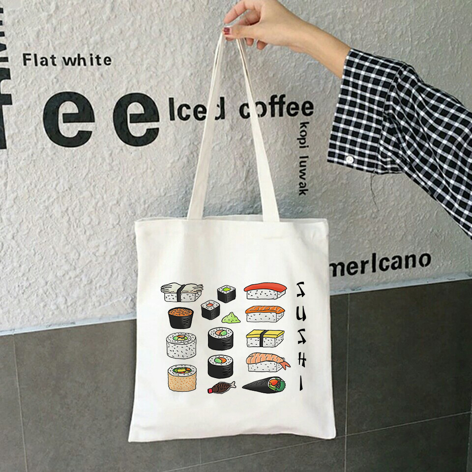 Kawaii Sushi Set Tote Bags Harajuku Girl Shoulder Bag Ladies Canvas Shopping Bag Female Eco Handbag Foldable Tote Large Capacity