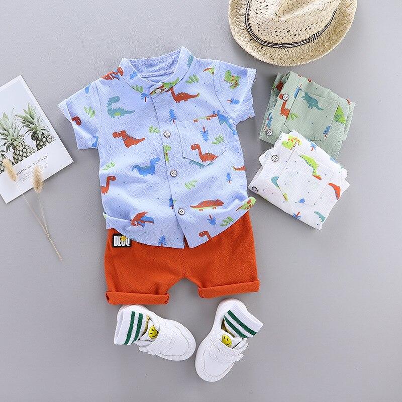 Cute Toddler Boy Summer Set 2021 New Cartoon Dinosaur Print Short Sleeve Shirt + Pants for Kid Baby Boys Clothes 2