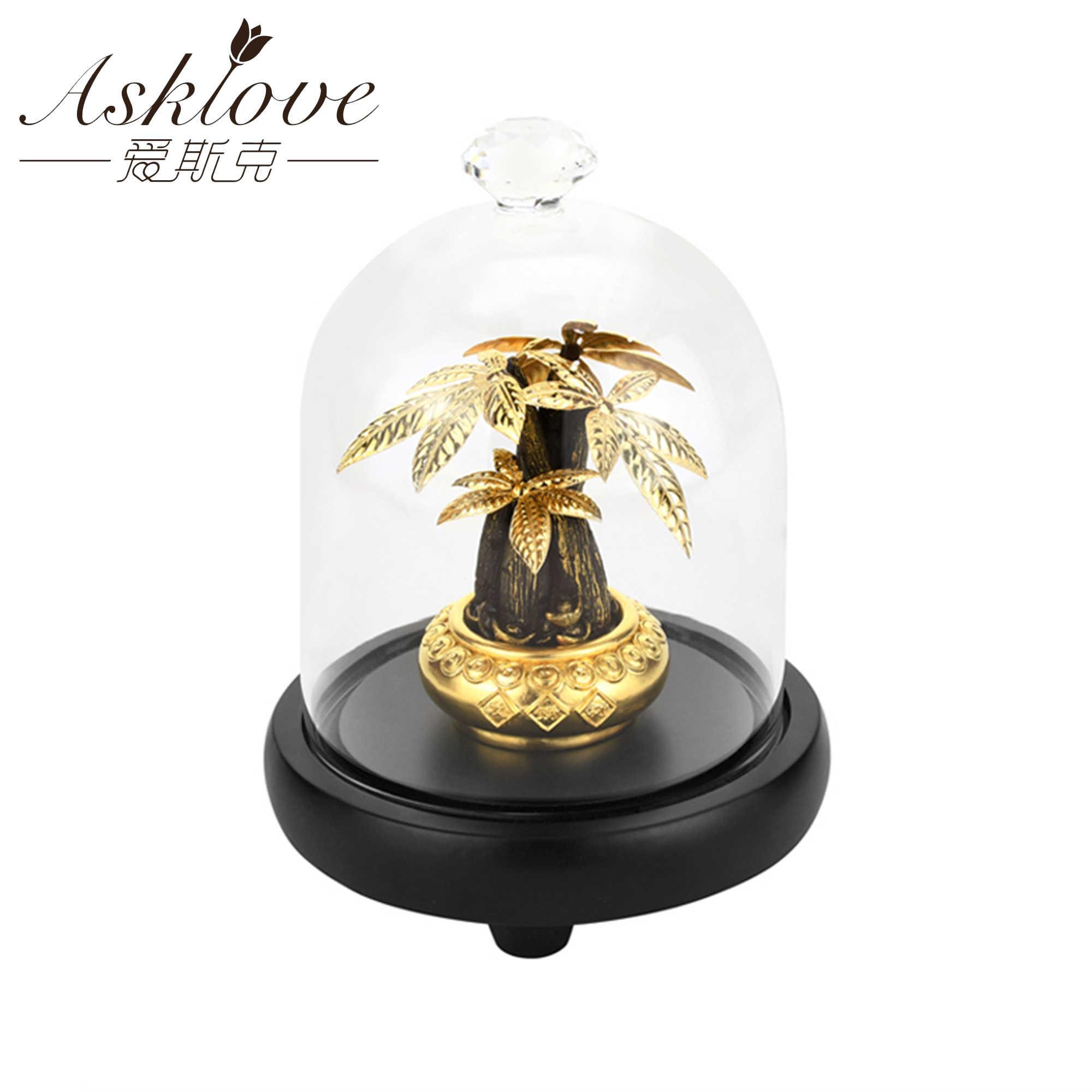Asklove Albero di Fortuna Raccogliere Ricchezza Ornamento 24K Lamina D'oro Artigianato Fengshui decorazione Albero di Denaro Fortunato Bonsai Home Office Decorazione