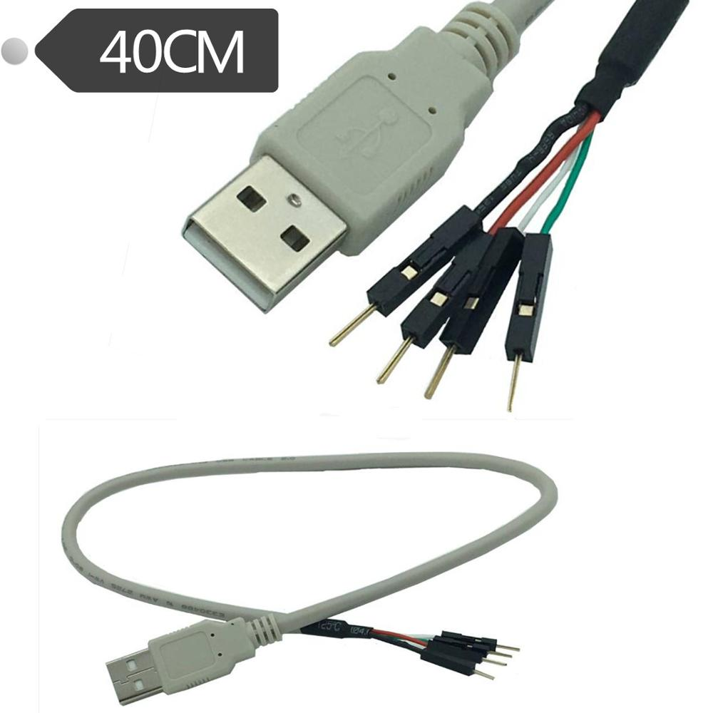 USB2.0 A Male TO 2.54mm Shell 1P * 4 Male, USB To DuPont Cable 0.4m
