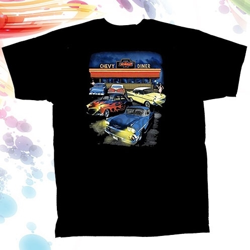 100% Cotton Chevrolet Classic Car Chevy Diner Men's Fashion T-Shirt Black women tshirt