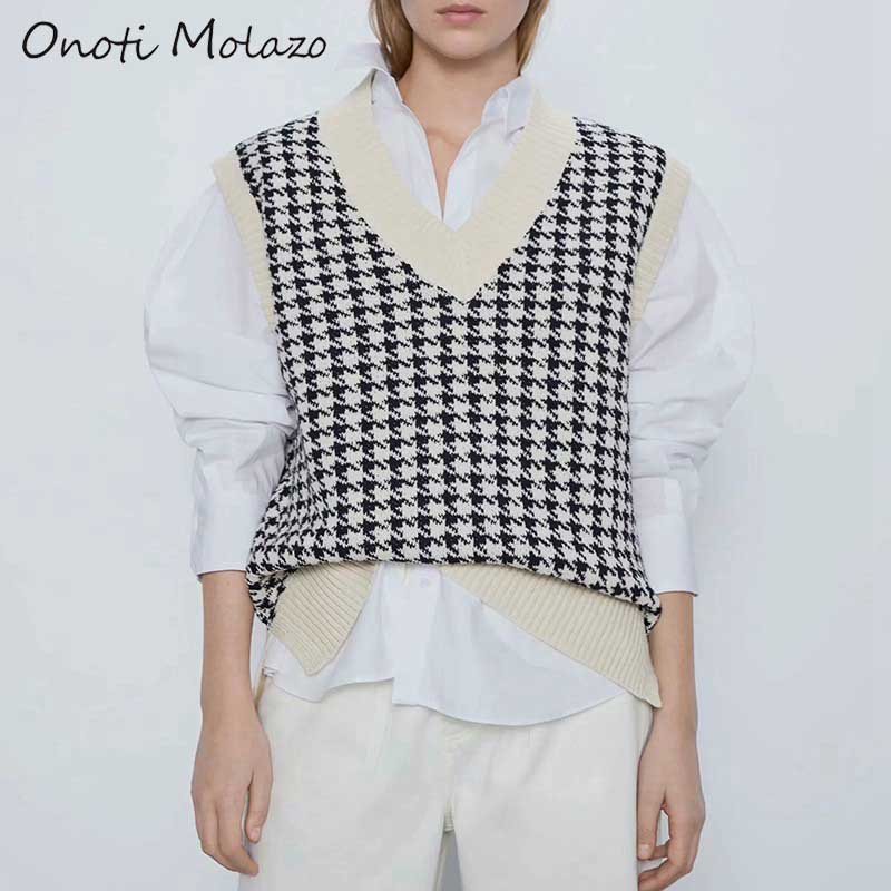 Onoti Molazo Knitted Sweaters Pullovers Vest Women Plaid Sleeveless Casual Ladies Sweater Vest Female 2020 Spring Autumn New