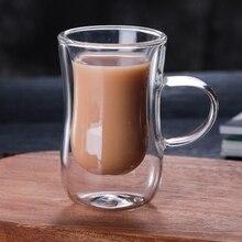 80 мл Европейская двойная кофейная кружка термостойкая двойная стеклянная чашка для капучино чашка для молока чашка для сока новая кофейная офисная кружка с ручкой
