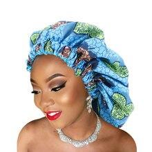Novo extra grande impresso duplo-camadas nightcap africano padrão de tecido de impressão ancara estiramento chapéu de aba larga noite sono hat