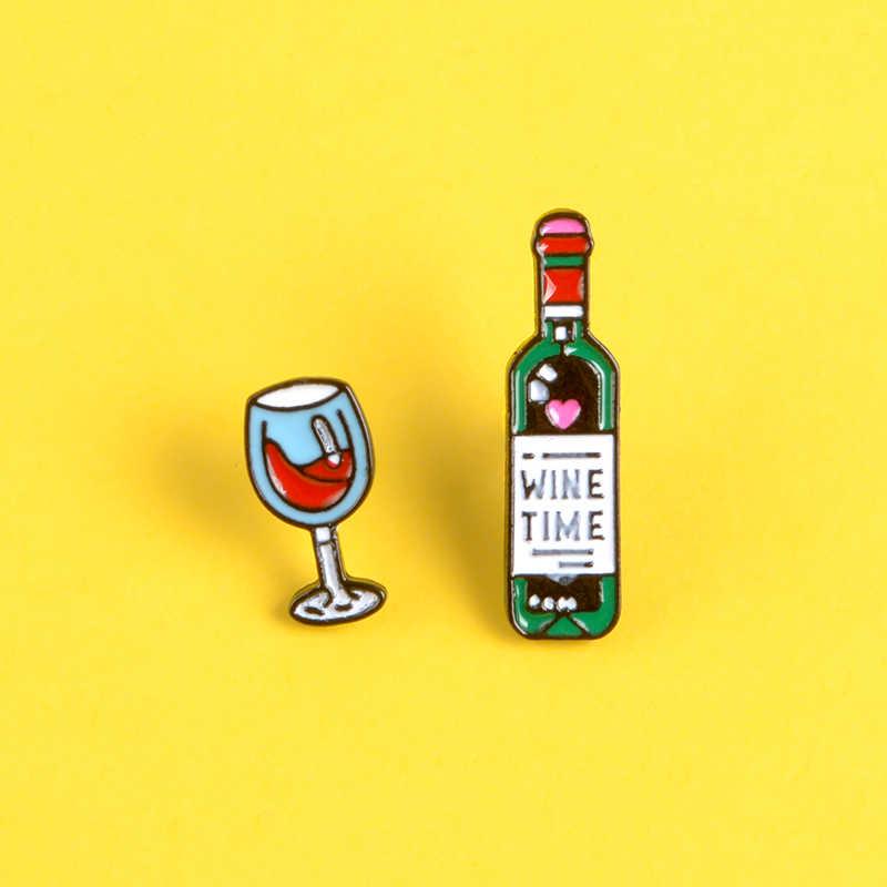 Waktu Minum Enamel Pin Botol Anggur Merah Elegan Piala Bros Hari Ini Jumat Kerah Pin Lencana Denim Tas Perhiasan Drunkard hadiah