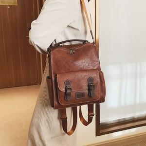 Image 4 - Модный женский рюкзак 2021, вместительные женские рюкзаки из искусственной кожи, Повседневная сумка для школы и колледжа, винтажная классическая сумка на плечо
