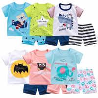 6M-4 años 2 unids/set bebé niños trajes verano niños pantalones cortos de manga corta traje de algodón para niños y niñas Ropa de niño