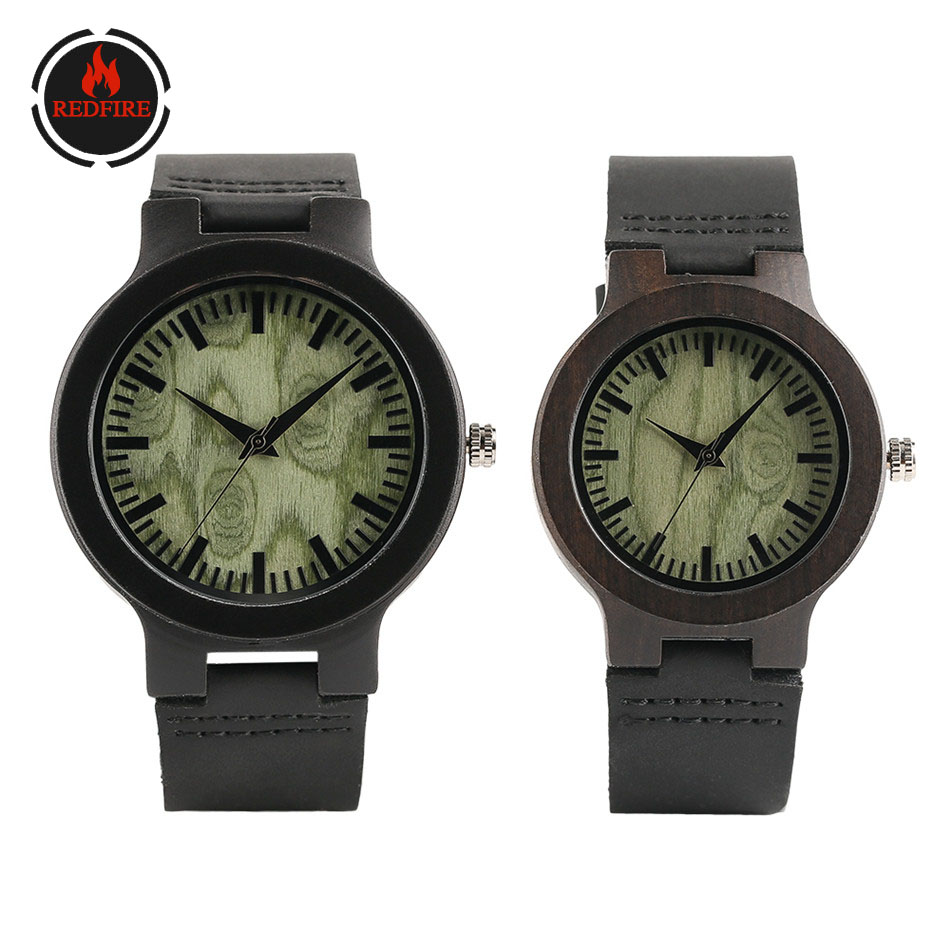 REDFIRE Forest Green Dial Wood Watches For Couple Minimalist Casual Lovers' Genuine Leather Wrist Watches Valentines Day Gifts