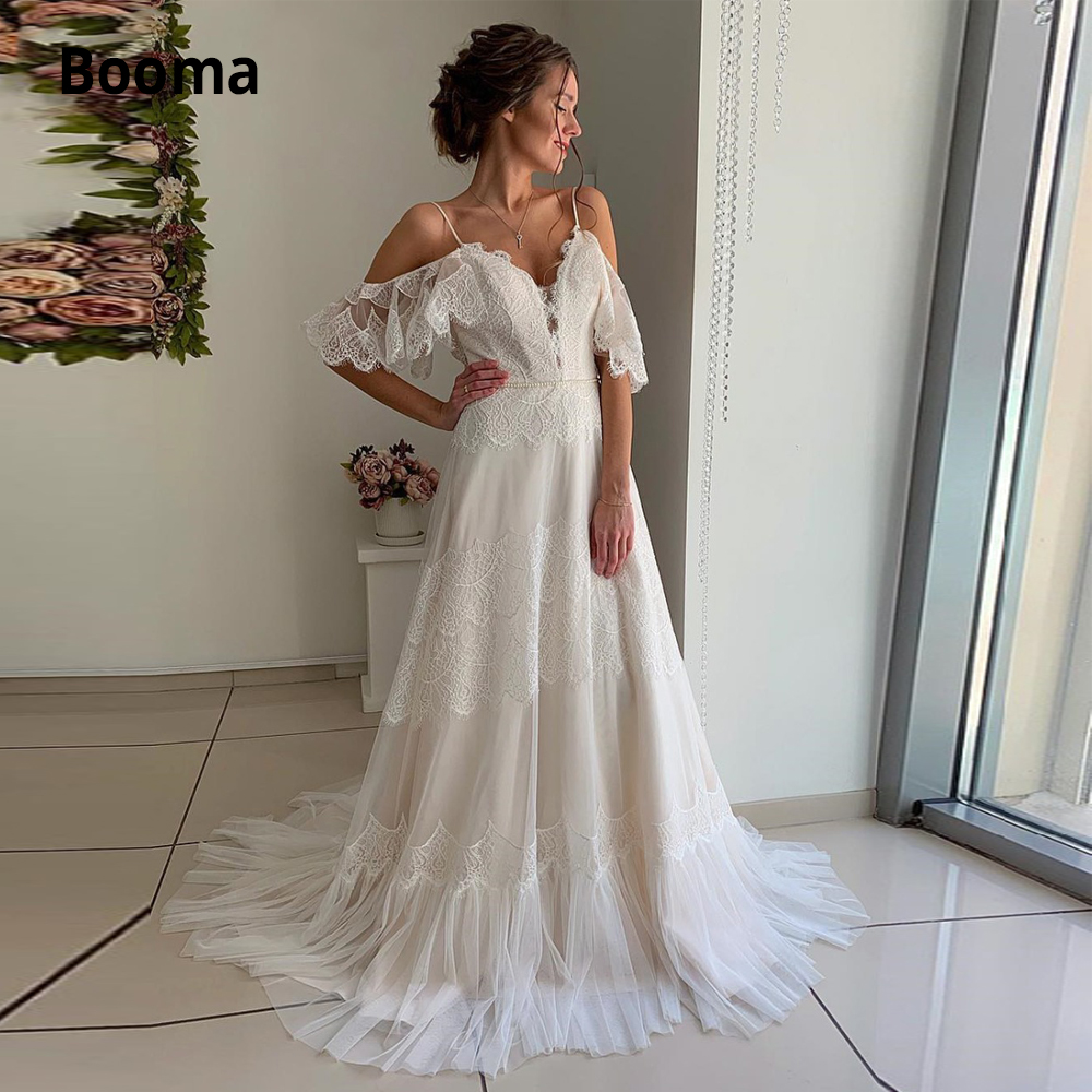 Booma Bohemia Champagne Wedding Dresses Lace Tulle Beach Bridal Gown Boho Off The Shoulder V-neck Princess Party Dress Plus Size