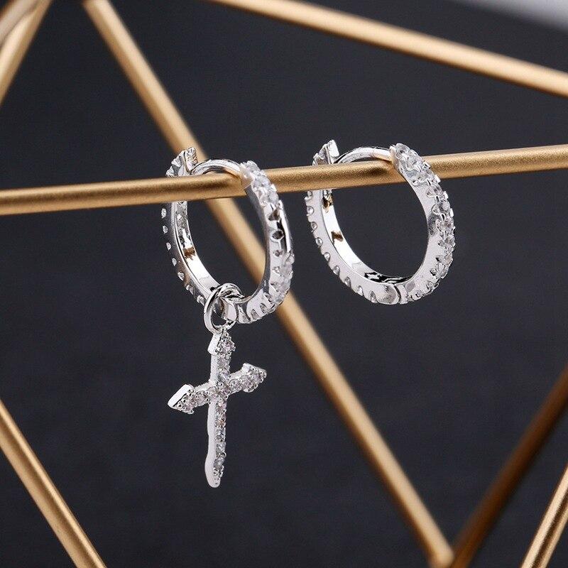 ANENJERY Silver Color Mosaic Cubic Zircon Cross Pendant Earrings For Women Asymmetric Hoop Earrings S-E1093