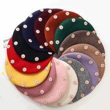 Шерстяные женские Зимние береты, новинка, перламутровая шерсть, Одноцветный берет, Женская кепка, зимняя, универсальная, теплая, прогулочная шапка, кепка, casquette