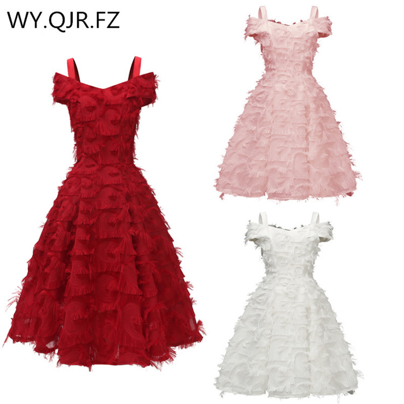 CD1715#Burgundy Bridesmaid Dresses Short Cocktail Prom Party Dress Pink White Spaghetti Straps Homecoming Winter New Wholesale