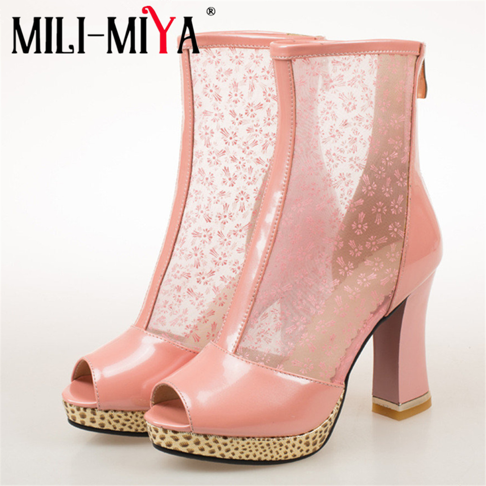 MILI-MIYA high quality square heels summer boots woman shoes women zipper peep toe party boots female big size 34-44 black pink