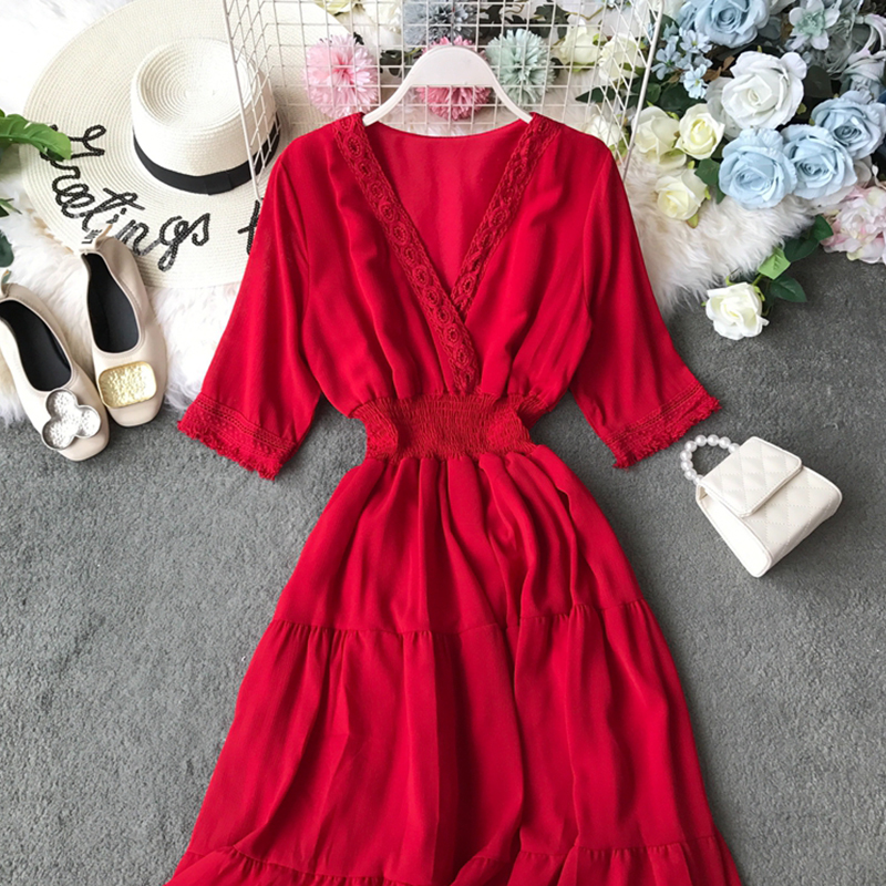Fitaylor Summer Red White Hollow Out Patchwork Maxi Dress Elegant V Neck Retro Women Long Dress Vintage A Line Beach Vestido