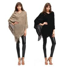 Vrouwen Golvende Strepen Knit Batwing Trui Fringe Kwasten V Hals Mantel Poncho Trui Top(China)