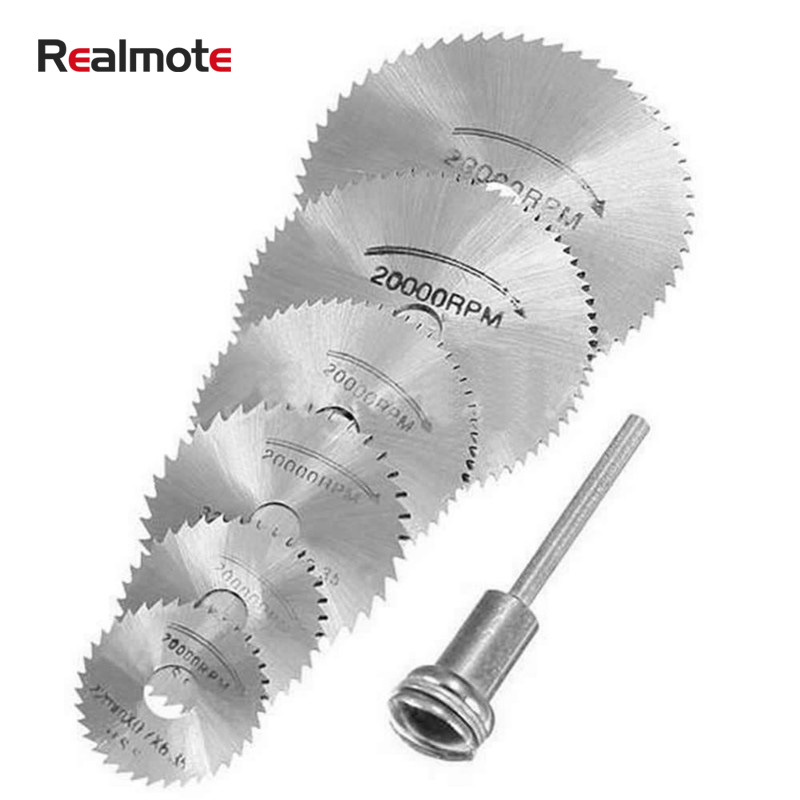 Realmote 6PCS HSS Mini Circular Saw Blade Set Rotary Cutting Tool Blades Discs Mandrel For Dremel Cut Off