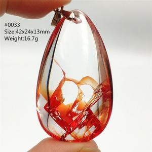 Подлинная натуральная красная Лимонит фантомный кварцевый кулон в виде дерева лист прозрачный бисер для женщин мужчин редкая Капля воды ож...