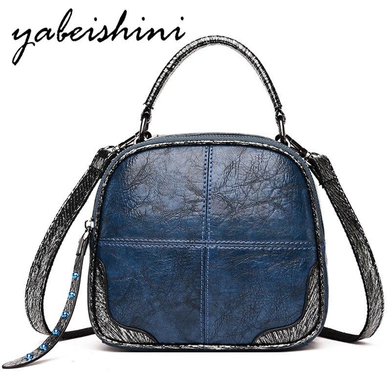 Women Leather Backpacks Schoolbags Travel Shoulder Bag Mochila Feminina Blue