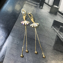 лучшая цена S925 Silver Needle Ballet Girls' earrings stylish Zirconium flow ear Decoration Korean temperament long Super Immortals earrings