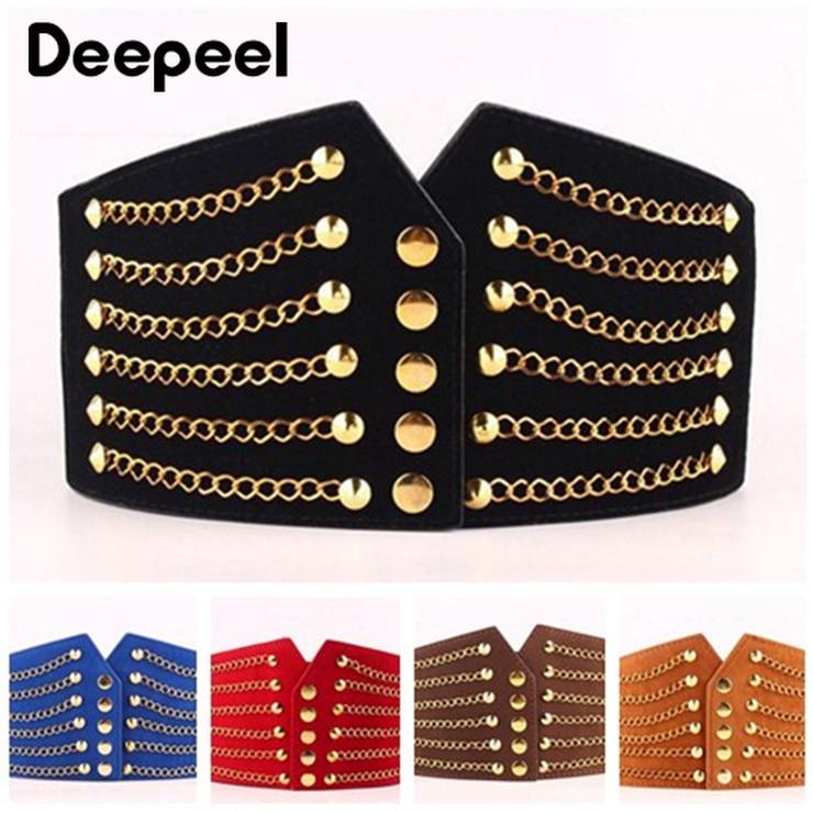 Deepeel 1pc Fashion Slim Corset Belt Women Cummerbunds Elastic Belts Wild Rivet Waist Band Coat Fur Waist Corset Belt Accessory