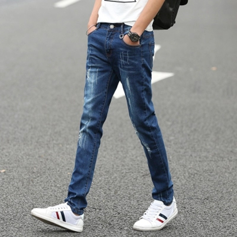 2019 New Style MEN'S Jeans Men's Skinny Slim Fit Men Cowboy Pants Korean-style With Holes Trousers JEANS
