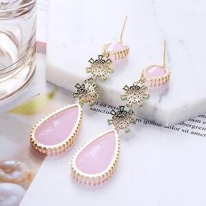 Image 3 - Pink Color Zircon Drop Earrings Luxury Long Water Drop Shape CZ Stone Elagant Lady`s Earrings Jewelry for Wedding XIUMEIYIZU New