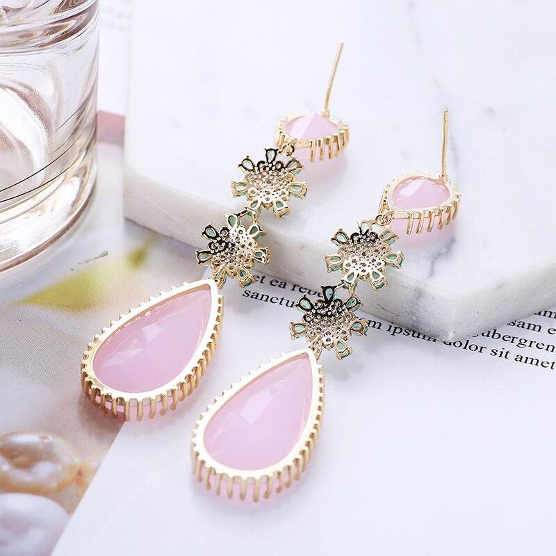 Image 3 - Rose couleur Zircon boucles doreilles de luxe longue goutte deau forme CZ pierre Elagant dame boucles doreilles bijoux pour mariage XIUMEIYIZU nouveauBoucles doreilles pendantes   -