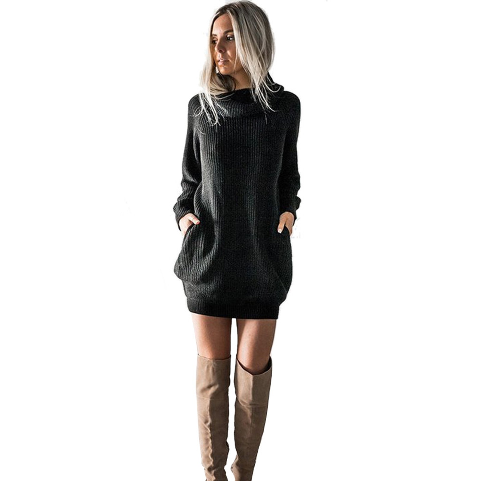 vestido de mujer Womens Long Sleeve Turtleneck Knitted Dress Roll Neck Jumper Dress Ladies Mini femme