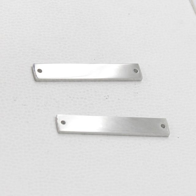 3 x 6 x 35 mm Silver Tone Geometric Rectangle  Stick Bar No Hole
